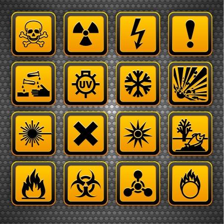 Photo for Hazard symbols orange vectors sign, on metal surface - Royalty Free Image