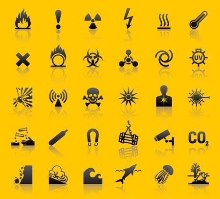 Set hazard warning symbols