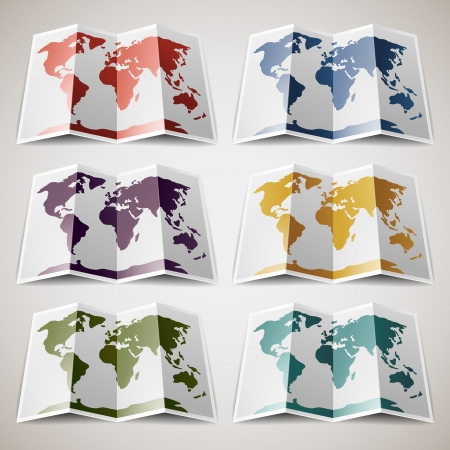 Set of retro colored Maps of the World