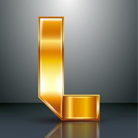 Font folded from a golden metallic ribbon - Letter L. Vector illustration .
