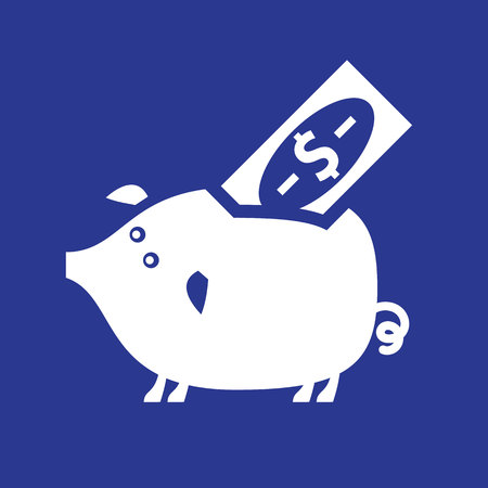 White piggy bank on a blue square Vector illustration.