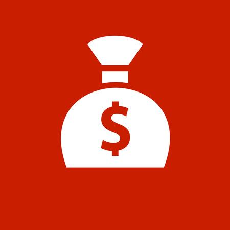 White money bag on a red square Vector illustration.