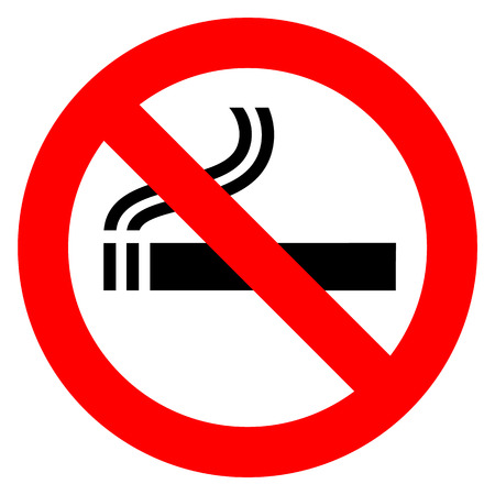 Ilustración de No smoking in red sign illustration on white background. - Imagen libre de derechos