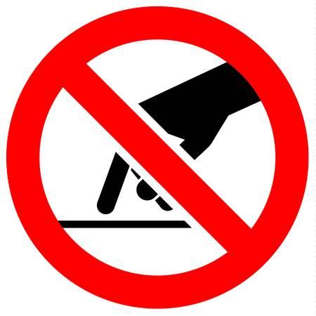 Ilustración de Prohibition sign. Black forbidden symbol in red round shape - Imagen libre de derechos