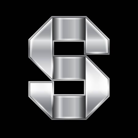 New font folded from a silver metallic ribbon. Trendy roman alphabet, gray vector letter S on a black background
