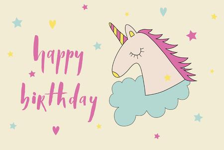 Happy birthday brush lettering card with cartoon cute unicorn ic