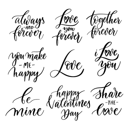 Photo pour Vector set of hand lettering with love motivational phrases. Calligraphy inspirational quotes collection for valentine's day. - image libre de droit