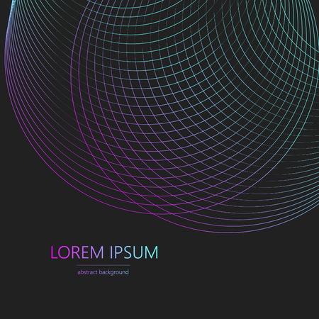Illustration pour Frame neon wave. Circle vortex with colored curves. Vector illustration. - image libre de droit