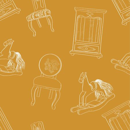 Doll vector furniture seamless pattern: chair with backrest