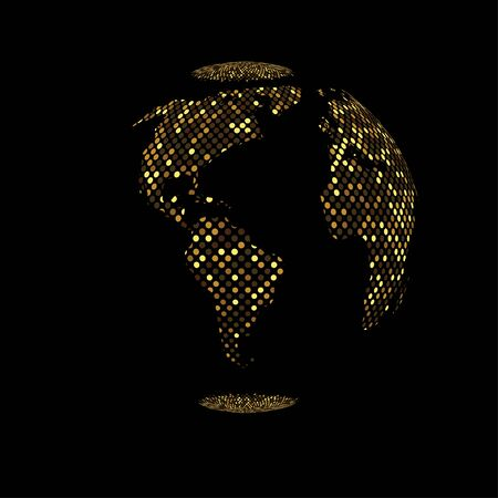 Illustration for Vector gold planet Earth icon. - Royalty Free Image