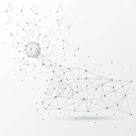 Illustration pour Hand touching global network connection and data from lines, triangles and particle low poly style. - image libre de droit