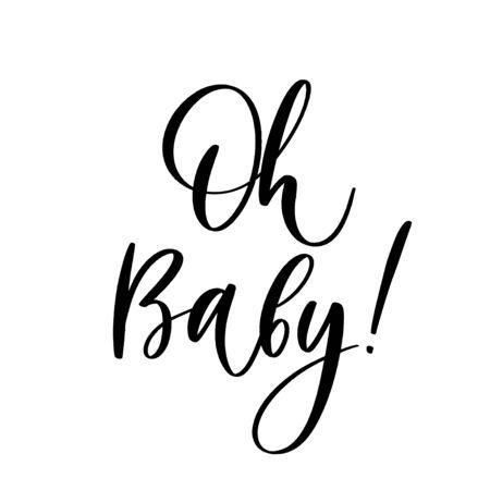 Foto de Oh Baby. Baby shower inscription  for babies clothes and nursery decorations. - Imagen libre de derechos