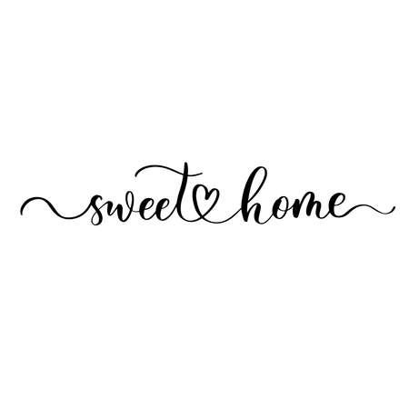 Illustration pour Sweet Home - hand drawn calligraphy and lettering inscription. - image libre de droit