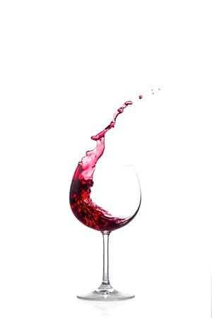 Splash red wine on white background