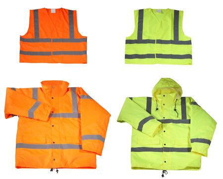 Emergency safety vest and jacket isolated on white
