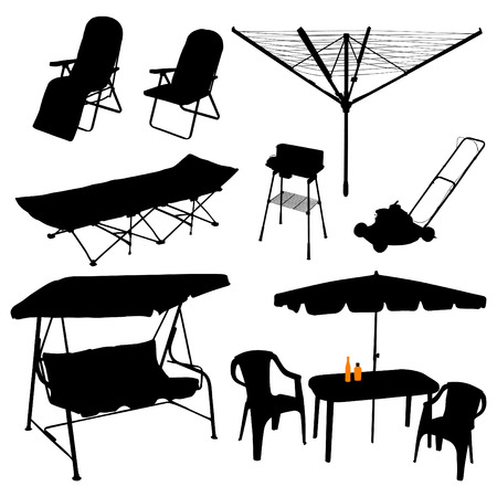Summer outdoors vector set on white background