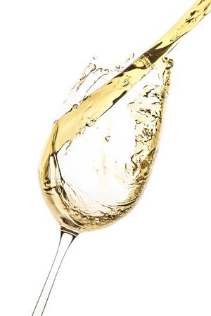 Photo pour white wine splash isolated on white - image libre de droit