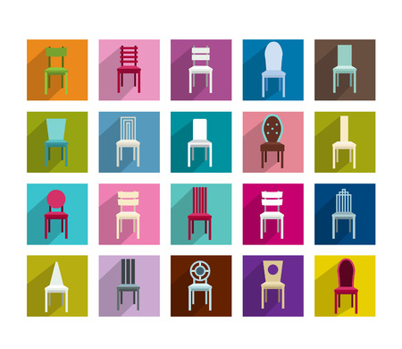 Collection of modern shadows chair flat icon  Vector illustration