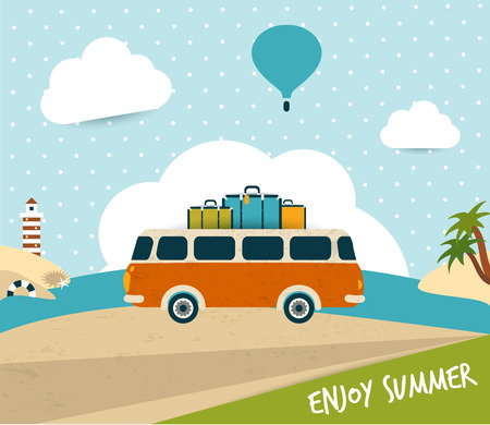 Retro travel bus concept  summer holiday  Vector background