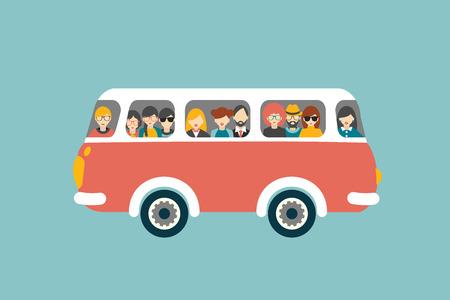 Illustration pour Retro bus with passengers. Flat vector concept. - image libre de droit