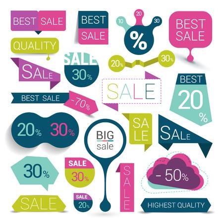 Illustration pour Big set of colorful sale stickers bubbles ribbons. Vector illustration. - image libre de droit