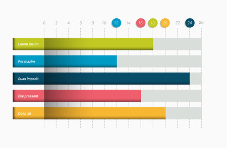 Flat chart, graph. Simply editable color. Infographics elements.
