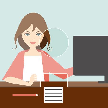 Woman clerk in a bank office. Flat vector.