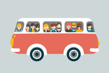 Illustration for Retro bus with passengers. Flat vector concept. - Royalty Free Image