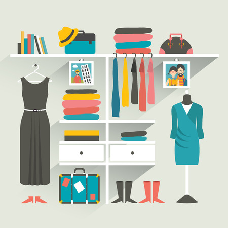 Ilustración de Clothing store. Boutique indoor. Flat design vector illustration. - Imagen libre de derechos