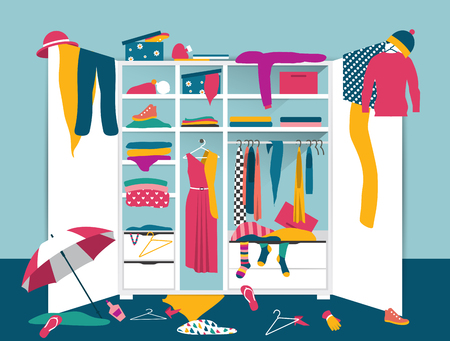 Open wardrobe. White closet with untidy clothes, shirts, sweaters, boxes and shoes. Home interior mess. Flat design vector illustration.