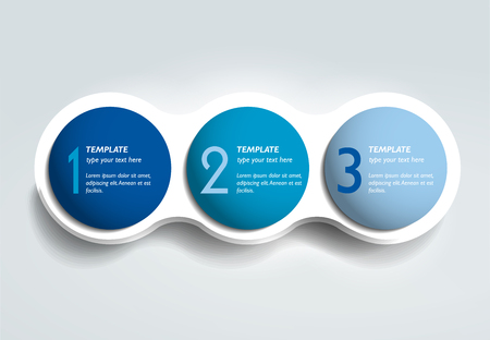 Illustration for Three steps elements bubble chart, scheme, diagram template. Infographic template. - Royalty Free Image