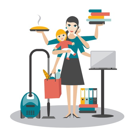 Illustration pour Multitask woman. Mother, businesswoman with baby working, coocking and calling. - image libre de droit