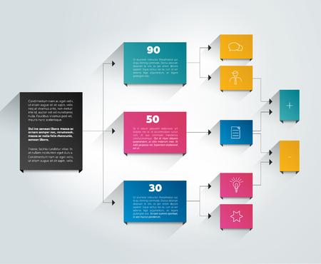 Ilustración de Infographics flowchart. Colored shadows scheme. - Imagen libre de derechos