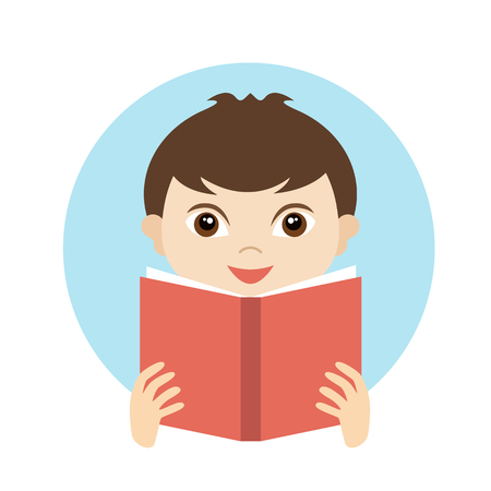 Illustration for Little cute boy reading a book. Flat vector. - Royalty Free Image