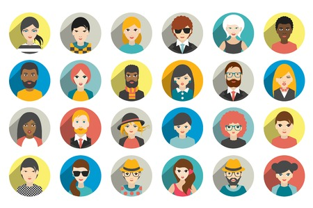 Illustration pour Set of circle persons, avatars, people heads  different nationality in flat style. Vector. - image libre de droit