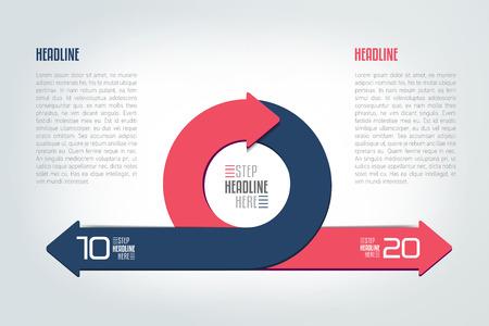 Ilustración de Circle, round divided in two arrows infographic. Template, scheme, diagram, chart, graph, presentation. Business concept with 2 steps, options, processes. - Imagen libre de derechos