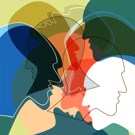 Ilustración de Heads people concept, symbol of communication between people. Vector ilustration. - Imagen libre de derechos