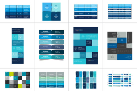 Illustration for Big set of tables, schedules, banners. Step by step infographic. - Royalty Free Image