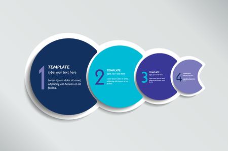 Illustration pour Four steps elements bubble chart, scheme, diagram, template. Infographic template. - image libre de droit