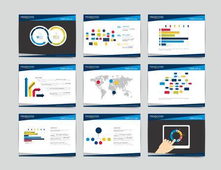 Illustration pour 9 presentation business templates. Infographics for leaflet, poster, slide, magazine, book, brochure, website, print. - image libre de droit