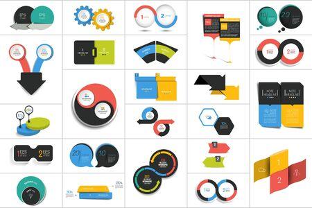 Illustration pour Mega set of two elements, steps chart, diagram, scheme. Circle, round design.  - image libre de droit