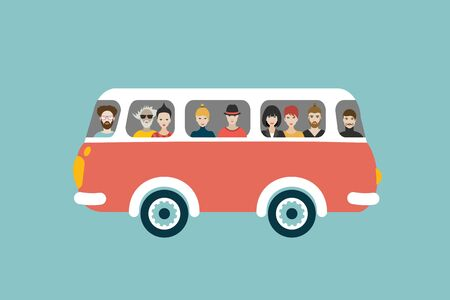 Illustration for Bus retro illustration with passengers. Flat vector concept. - Royalty Free Image