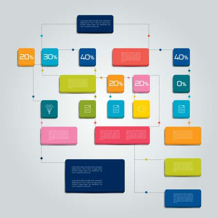 Photo pour Flow chart scheme. Infographics elements. Vector design. - image libre de droit