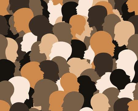 Ilustración de People profile heads. Seamless pattern of a crowd of many different people profile heads. Vector background. - Imagen libre de derechos