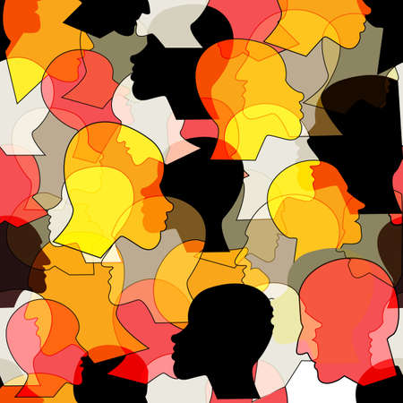 Illustration pour Seamless pattern of a crowd of many different people profile heads from diverse ethnic. Vector background. - image libre de droit