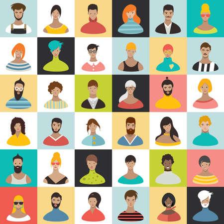 Illustration pour People heads icons. Face avatar. - image libre de droit