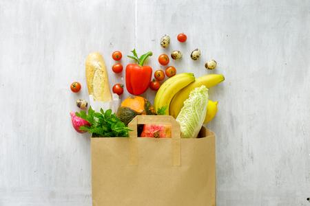 Foto für Paper bag of different fresh health food, top view  - Lizenzfreies Bild