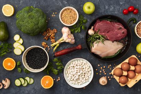 Photo pour Healthy balanced food. Diet eating concep top view - image libre de droit