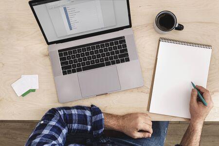 Photo pour Online Education or online courses concept. Man studying online top view - image libre de droit