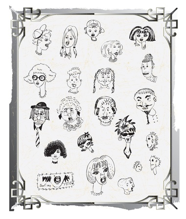 cartoon faces, doodle, hand drawing